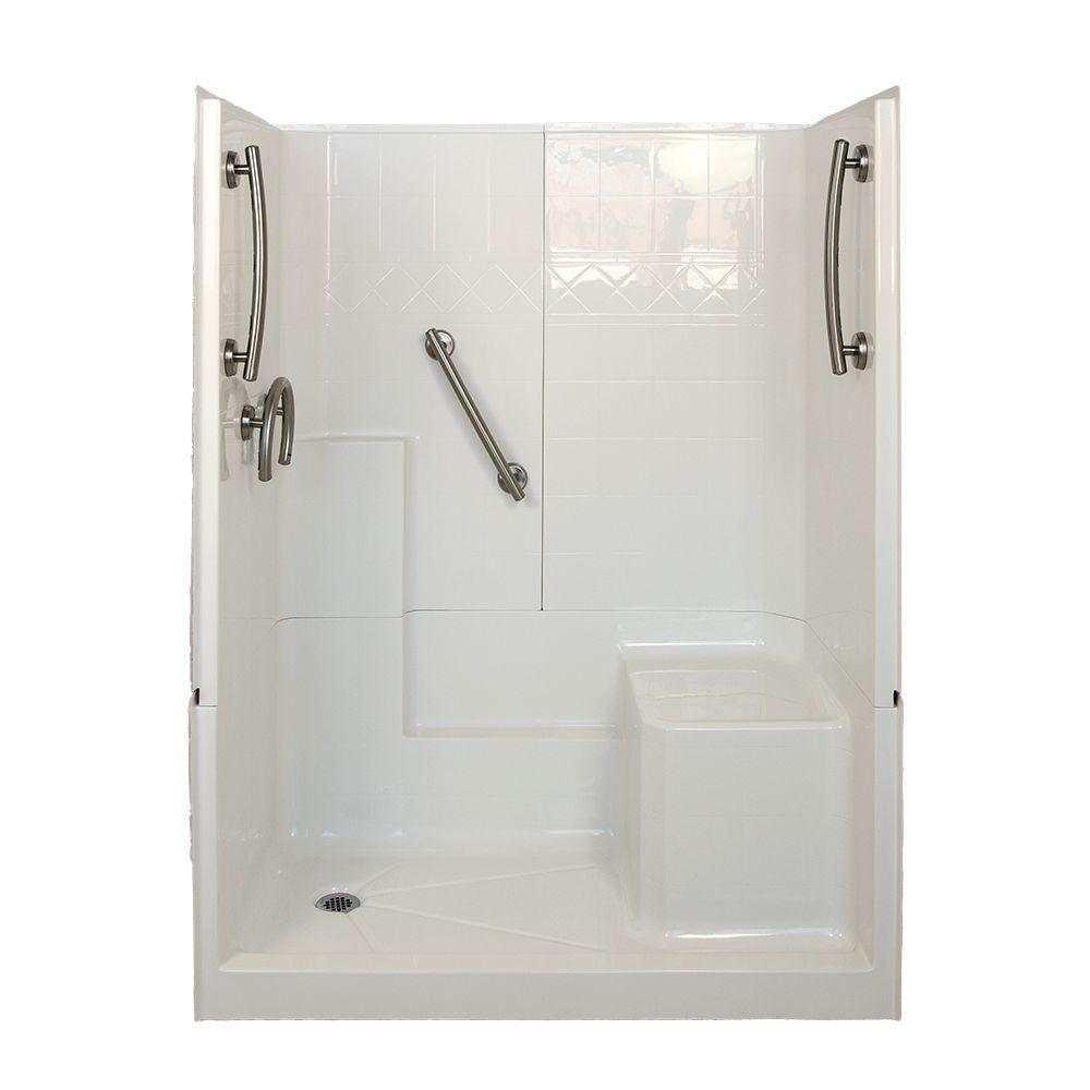 Ella Freedom 32 in. x 60 in. x 77 in. 3-Piece Low Threshold Shower Stall in White and Brushed Nickel with Left Drain