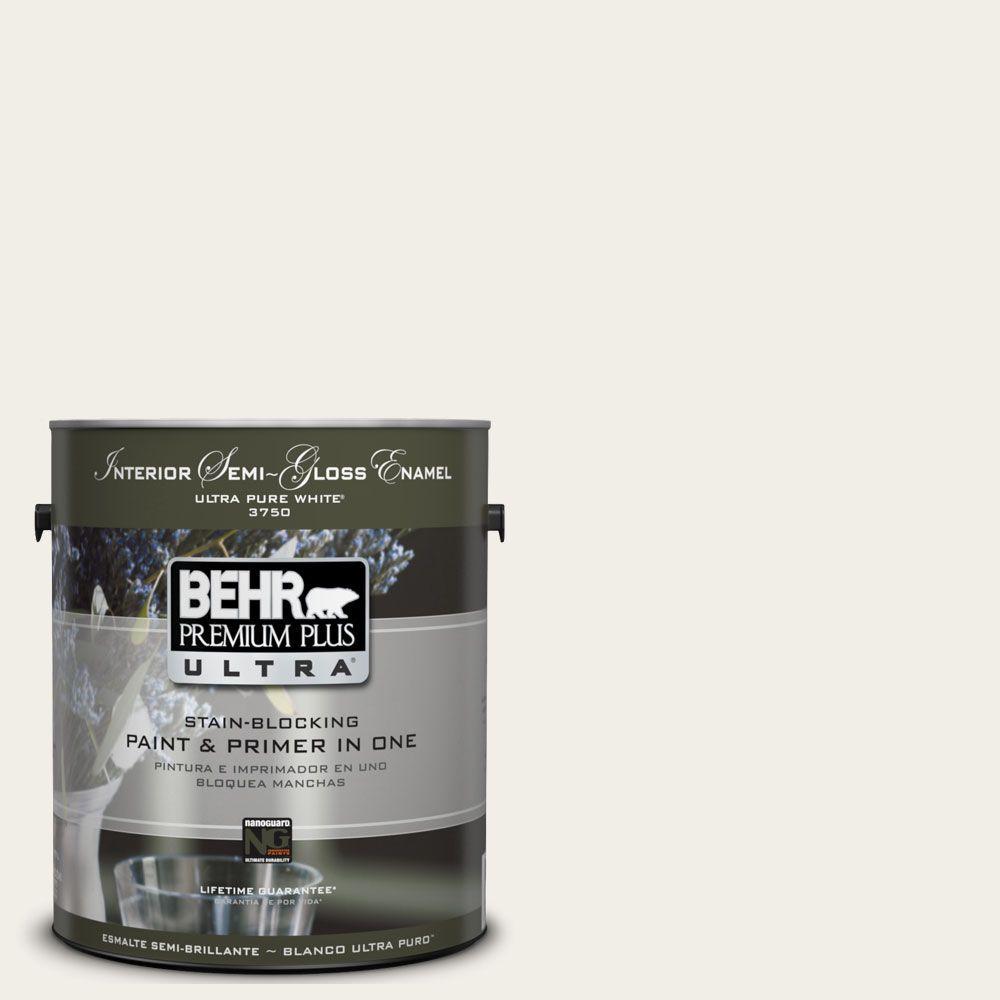 BEHR Premium Plus Ultra 1-gal. #UL200-12 Snowy Pine Interior Semi-Gloss Enamel Paint