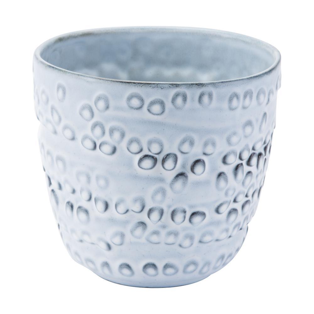 7.2 in. W x 6.5 in. H Off White Ceramic Planter