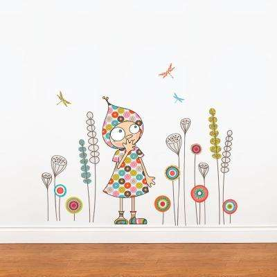 """(46 in x 38 in) Multi-Color """"Violette's Garden"""" Kids Wall Decal"""