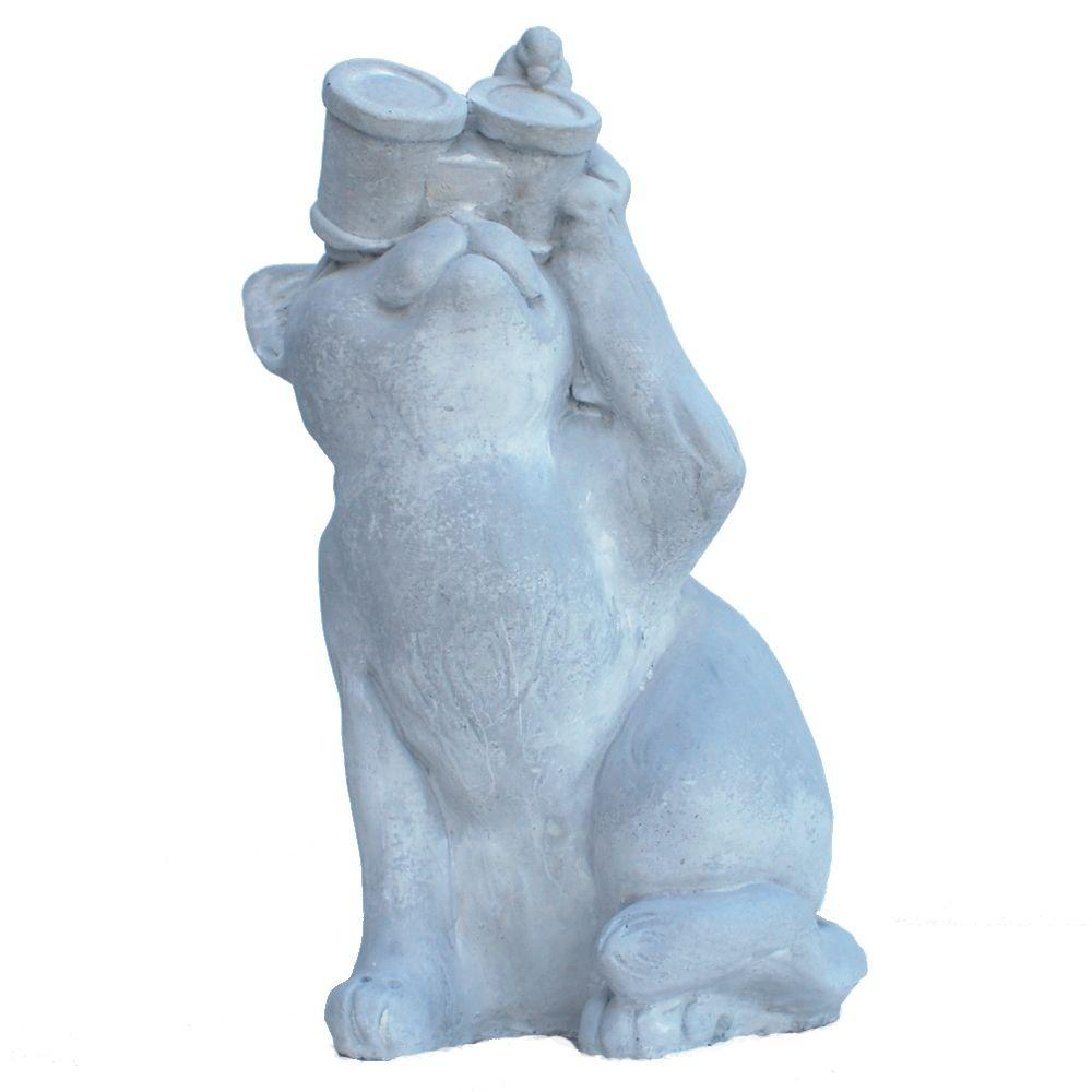 Cast Stone Birdwatching Cat Garden Statue, Antique Gray