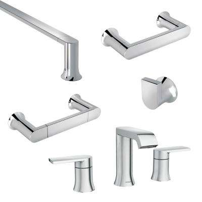 Genta 8 in. Widespread 2-Handle Bathroom Faucet with 4-Piece Bath Hardware Set in Chrome