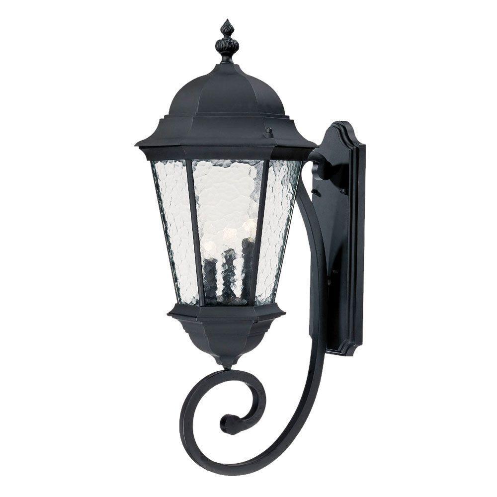 Telfair Collection 3-Light Matte Black Outdoor Wall-Mount Light Fixture