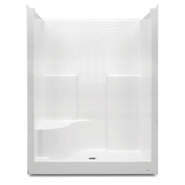 Everyday 60 in. x 36 in. x 76 in. 1-Piece Shower Stall with Left Seat and Center Drain in White