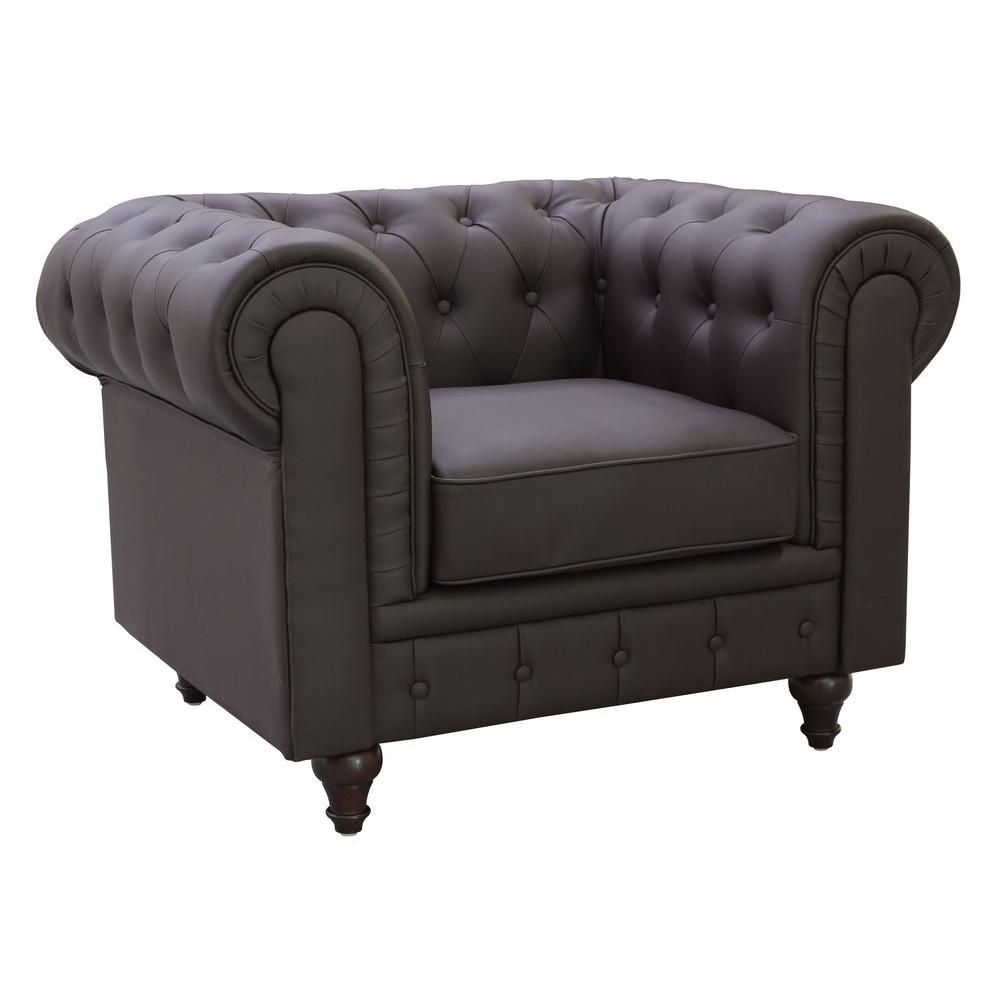 Gentil Grace Chesterfield Bonded Leather Button Tufted Chair, Brown