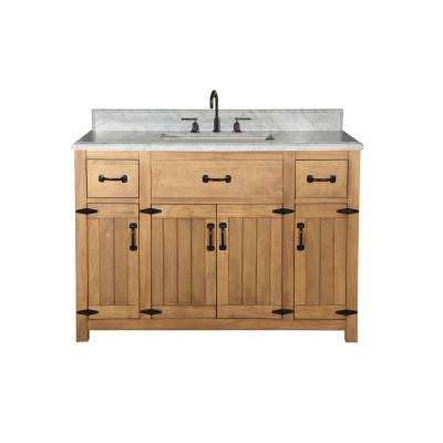 49 in. W x 22 in. D x 38 in. H Bath Vanity in Weathered Light Brown with Ceramic Vanity Top in White with White Basin