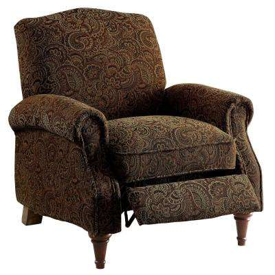 Rhianon Brown Pattern Linen-Like Push Back Recliner