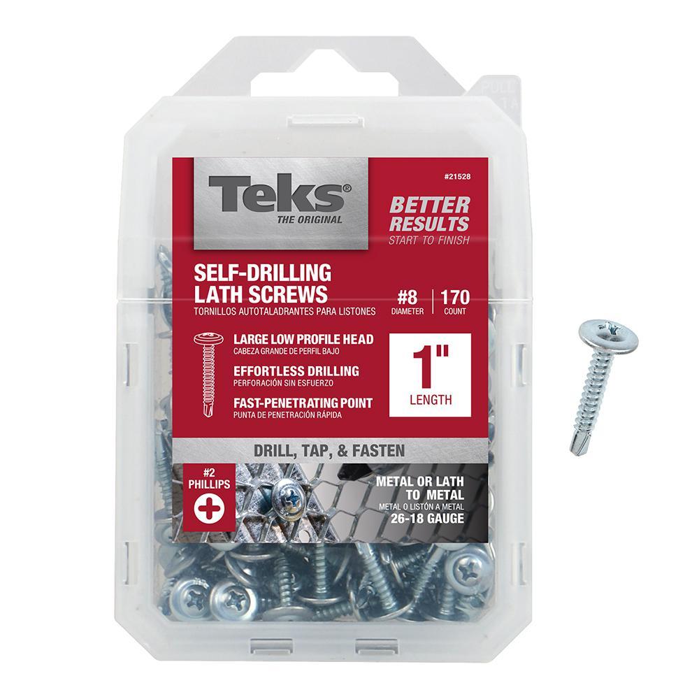 Teks #8 x 1 in. Phillips Fine Zinc-Plated Steel Truss-Head Drill Point Lath Screws (170-Pack)