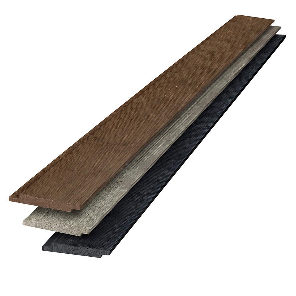 1 in. x 6 in. x 6 ft. Barn Wood Gray-Tone Multicolor Shiplap Kit (6-Pack)