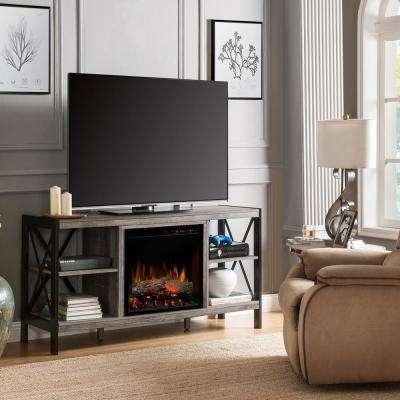 Ramona 65 in. Electric Fireplace and Log Set in Autumn Bronze with 23 in. Media Console