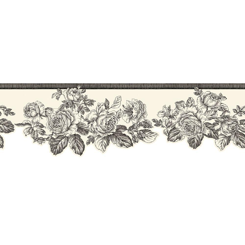 The Wallpaper Company 5.75 in. x 15 ft. Black and White Rose Border