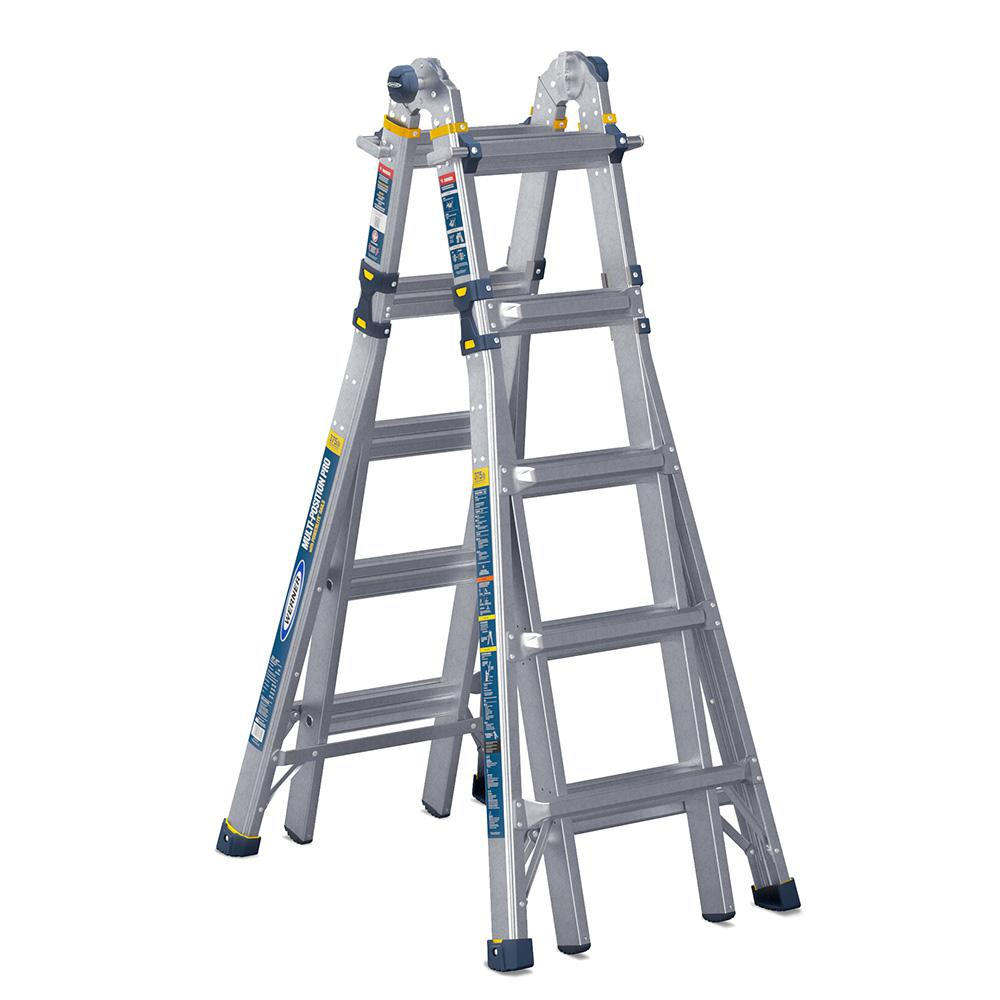 Werner Werner 22 ft. Reach Aluminum 5-in-1 Multi-Position Pro Ladder with Powerlite Rails 375 lbs. Load Capacity Type IAA Duty Rating