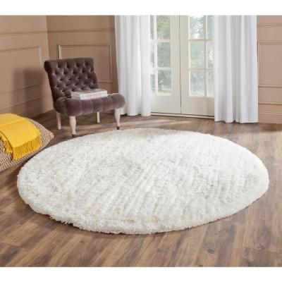 South Beach Shag Snow White 6 ft. x 6 ft. Round Area Rug