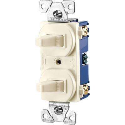 Commercial Grade 15 Amp Single Pole 2 Toggle Switches with Back and Side Wiring, Light Almond