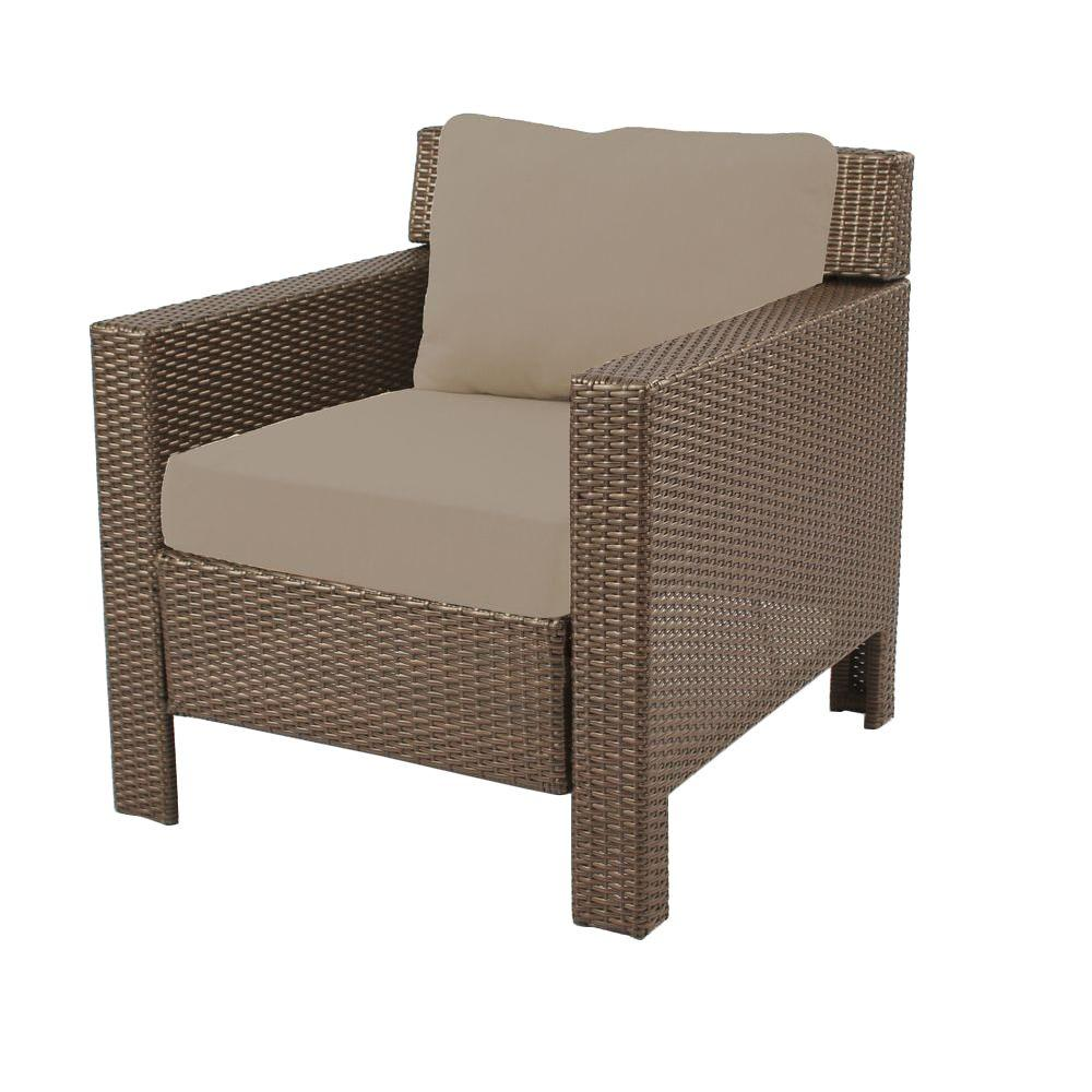 Hampton Bay Beverly Patio Deep Seating Lounge Chair With Beige Cushions