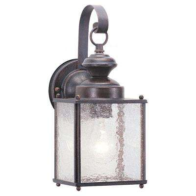 Jamestowne 1-Light Outdoor Textured Rust Patina Wall Mount Fixture