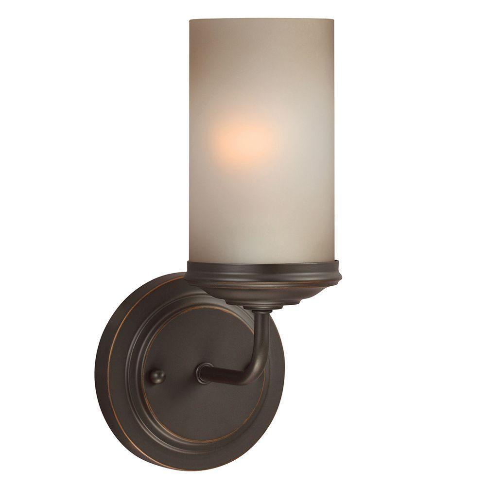Sfera 5 in. W. 1-Light Autumn Bronze Wall/Bath Sconce with Smokey Amber Glass