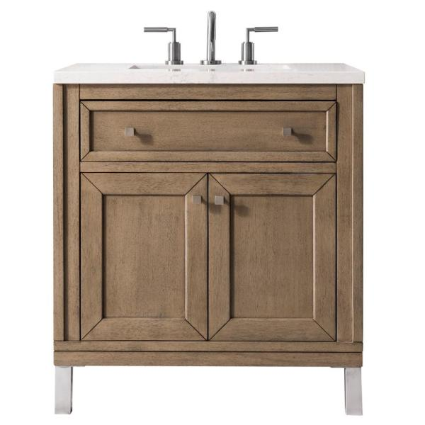 Chicago 30 in. Single Vanity in Whitewashed Walnut with Marble Vanity Top in Galala Beige with White Basin
