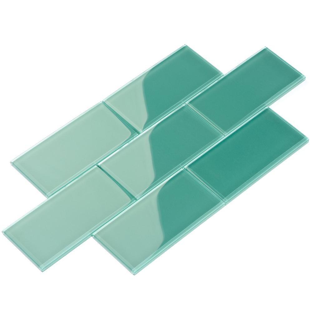 Giorbello Teal Subway 3 in. x 6 in. x 8mm Glass Backsplash and Wall ...