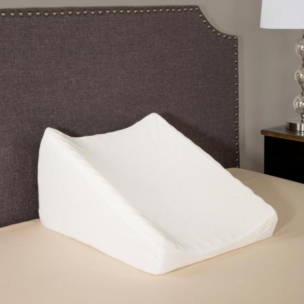 Bluestone Dual Position Wedge Pillow with White Terry Cloth Zippered Cover