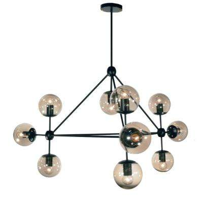 Dmarko 10-Light 44 in. Matte Black Chandelier