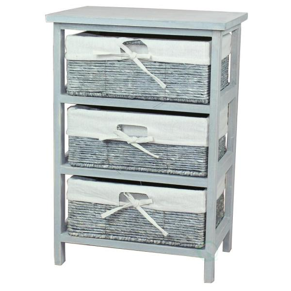 1575 In X 23 In Rustic Gray Wooden Storage Cabinet Chest With 3 Fabric Lined Maize Basket Style Drawers