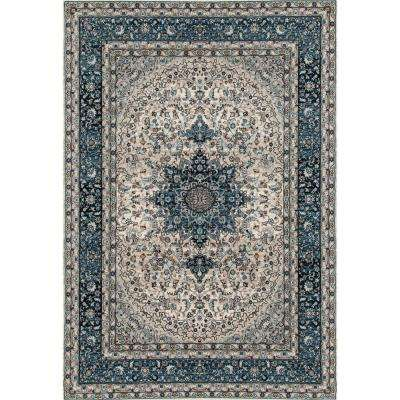 Traditional Oriental High Quality Blue Medallion Design 5 ft. x 7 ft. Area Rug