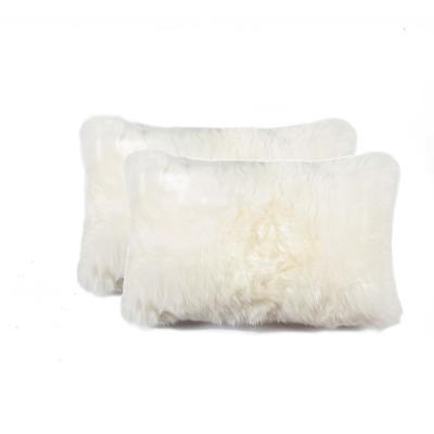New Zealand Sheepskin Natural Solid 12 in. x 20 in. Throw Pillow (Set of 2)