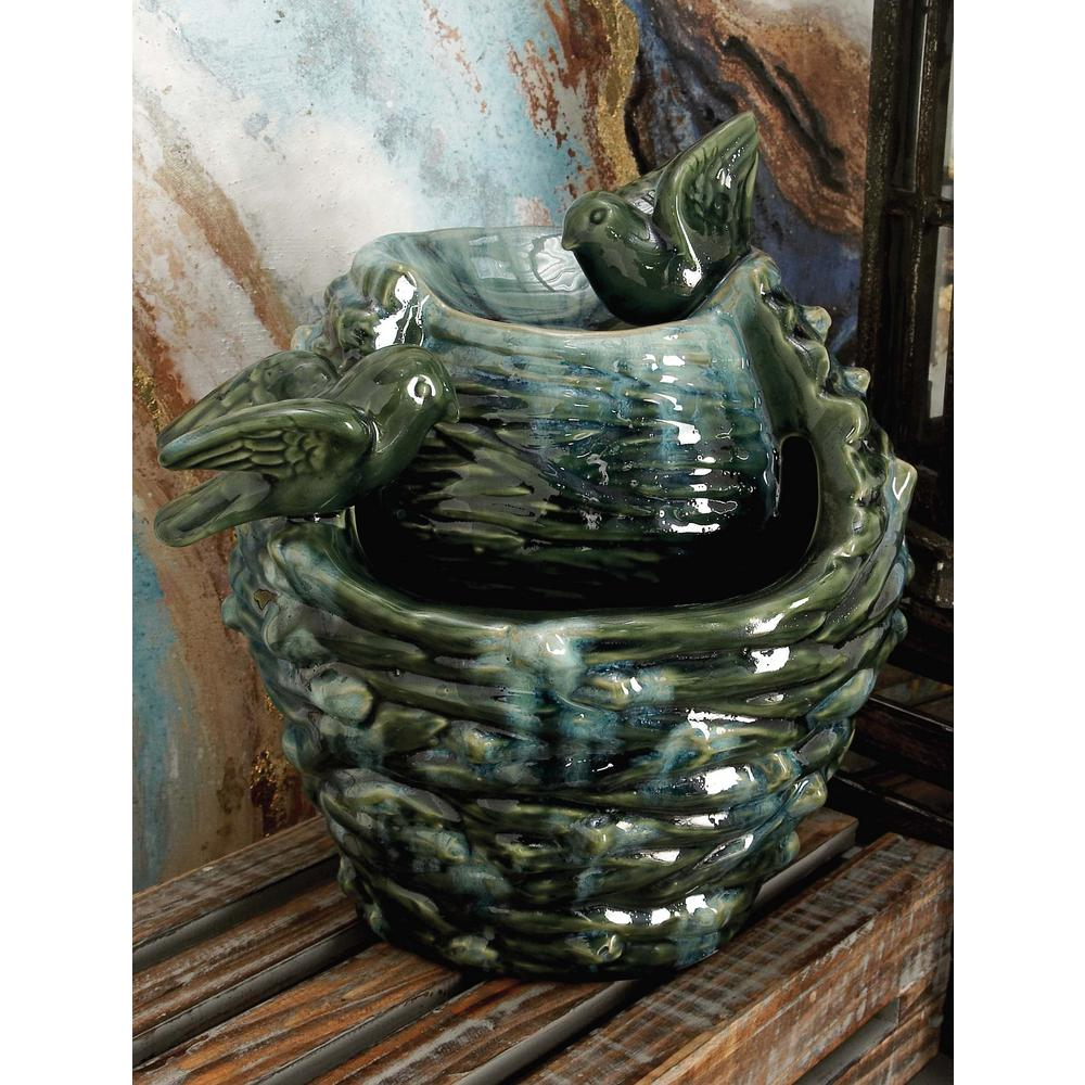 12 in. x 11 in. Glazed Ceramic Bird's Nest Fountain