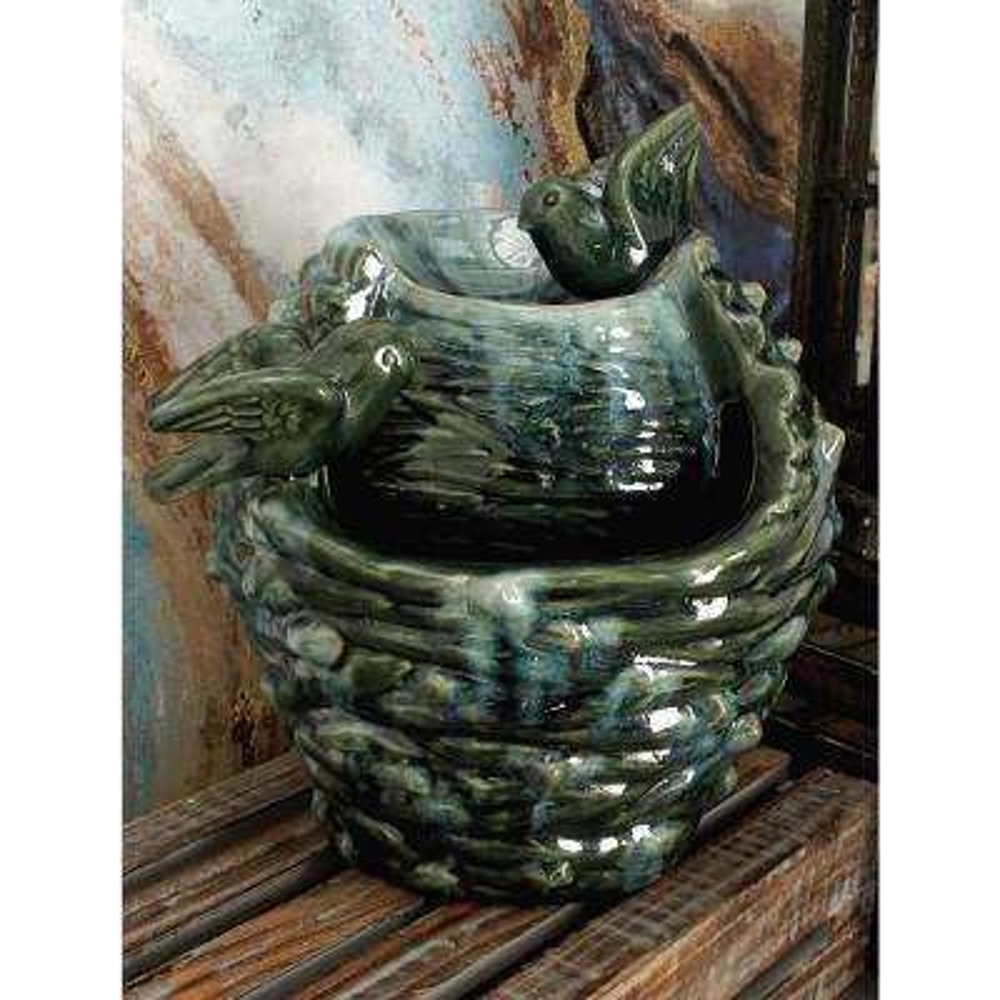 12 in. x 11 in. Glazed Ceramic Bird's Nest Fountain