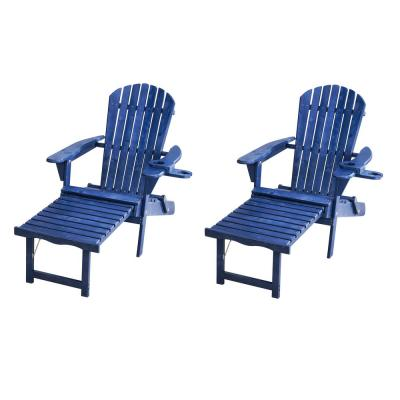 Oceanic Navy Blue Folding Wood Adirondack Chair with Built-In Ottoman (2-Pack)