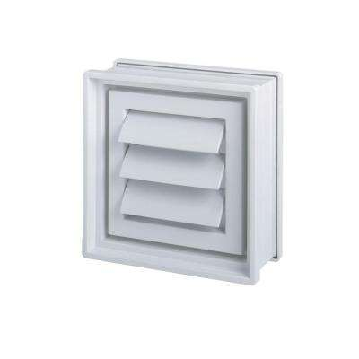 8 in. x 8 in. x 4 in. Glass Block Dryer Vent in White