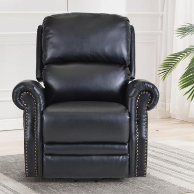 Black Retro PU Leather Heavy Duty Power Lift Recliner Chair with Remote Function