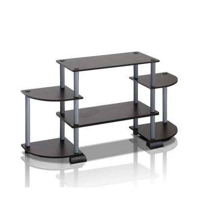 Turn-N-Tube Black Entertainment Center with Round Side Shelves
