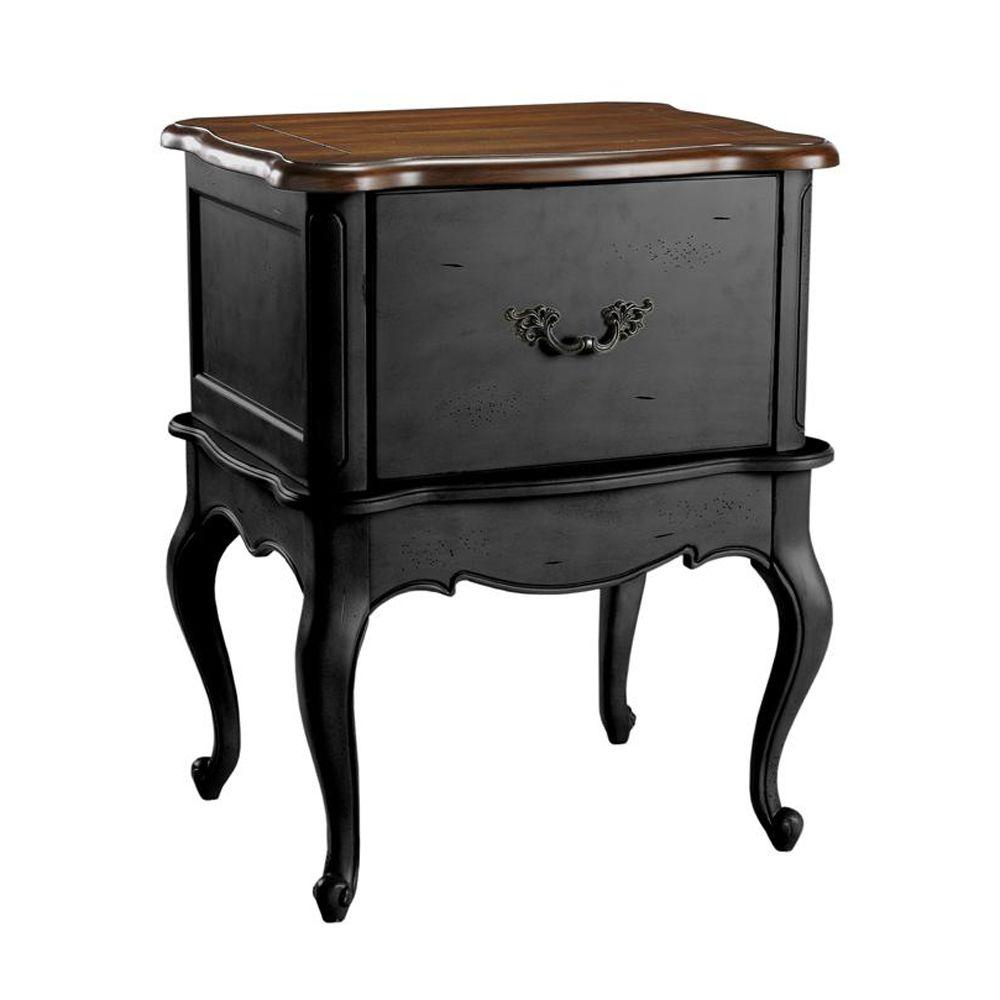Home Decorators Collection 24 in. W Provence Black with Chestnut Top Single 1-Drawer Horizontal File Cabinet