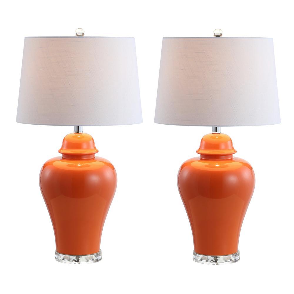 JONATHAN Y Winnie 27 in. Orange Ceramic Urn LED Table Lamp (Set of 2)