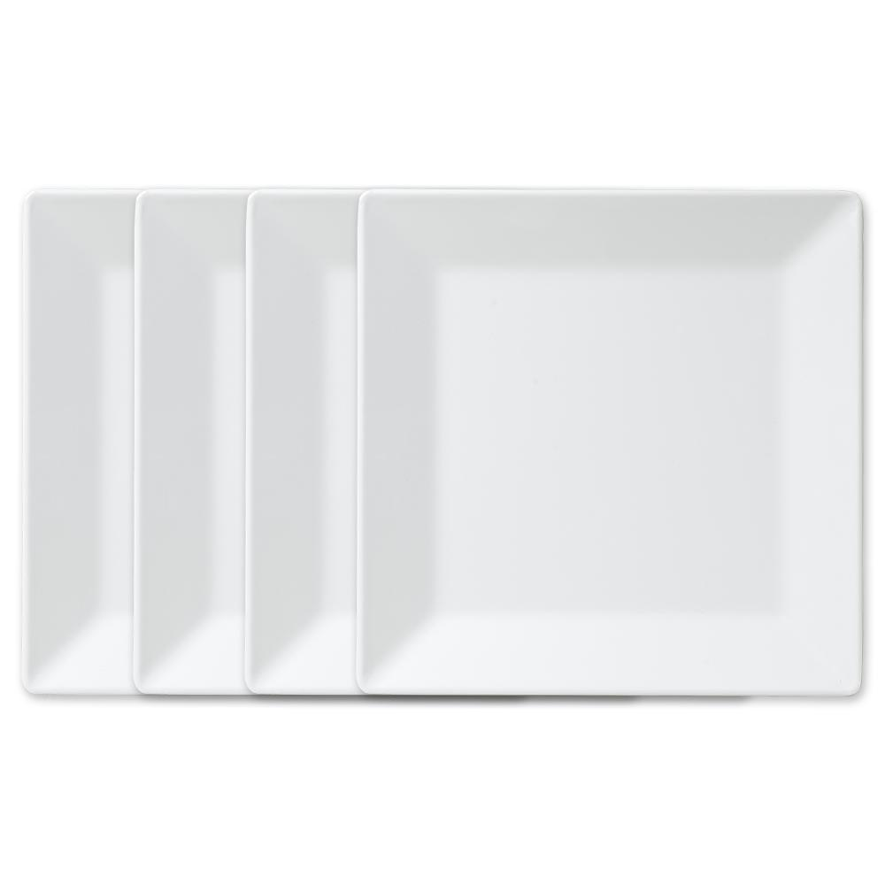 Q Squared Diamond Square 10.5 in. Melamine Dinner Plate in White (Set of 4  sc 1 st  Home Depot : white melamine plates - pezcame.com