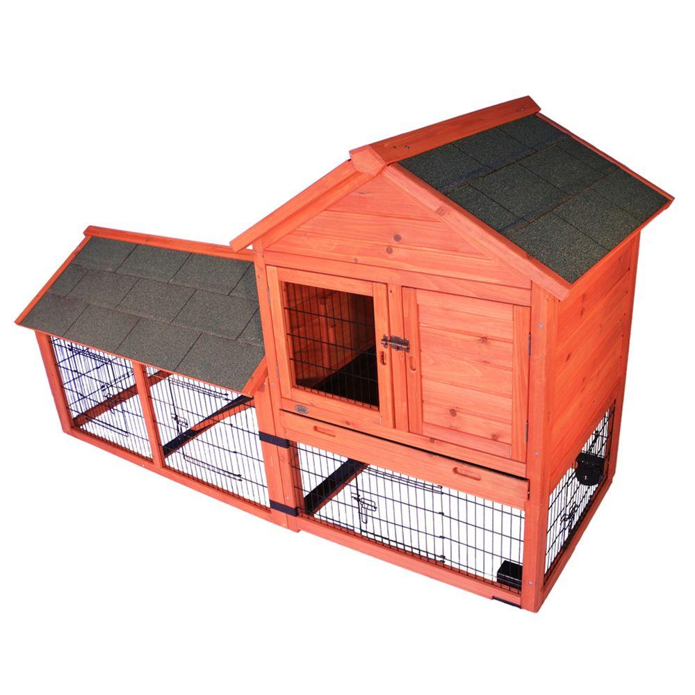 6.5 ft. x 2.6 ft. x 3.7 ft. Rabbit Enclosure with Outdoor Run and Wheels Hutch