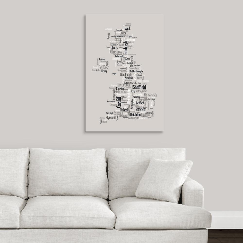 Greatcanvas Map Of United Kingdom Made Up City Names By Michael Tompsett Canvas