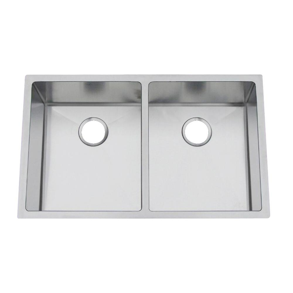 Gallery Undermount Stainless Steel 19 in. Double Bowl Kitchen Sink