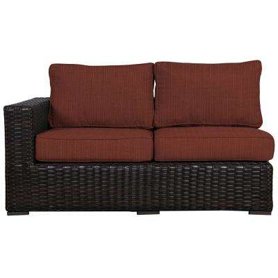 Santa Monica Patio Wicker Right Arm Outdoor Sectional Chair with Sunbrella Henna Dupione Cushion
