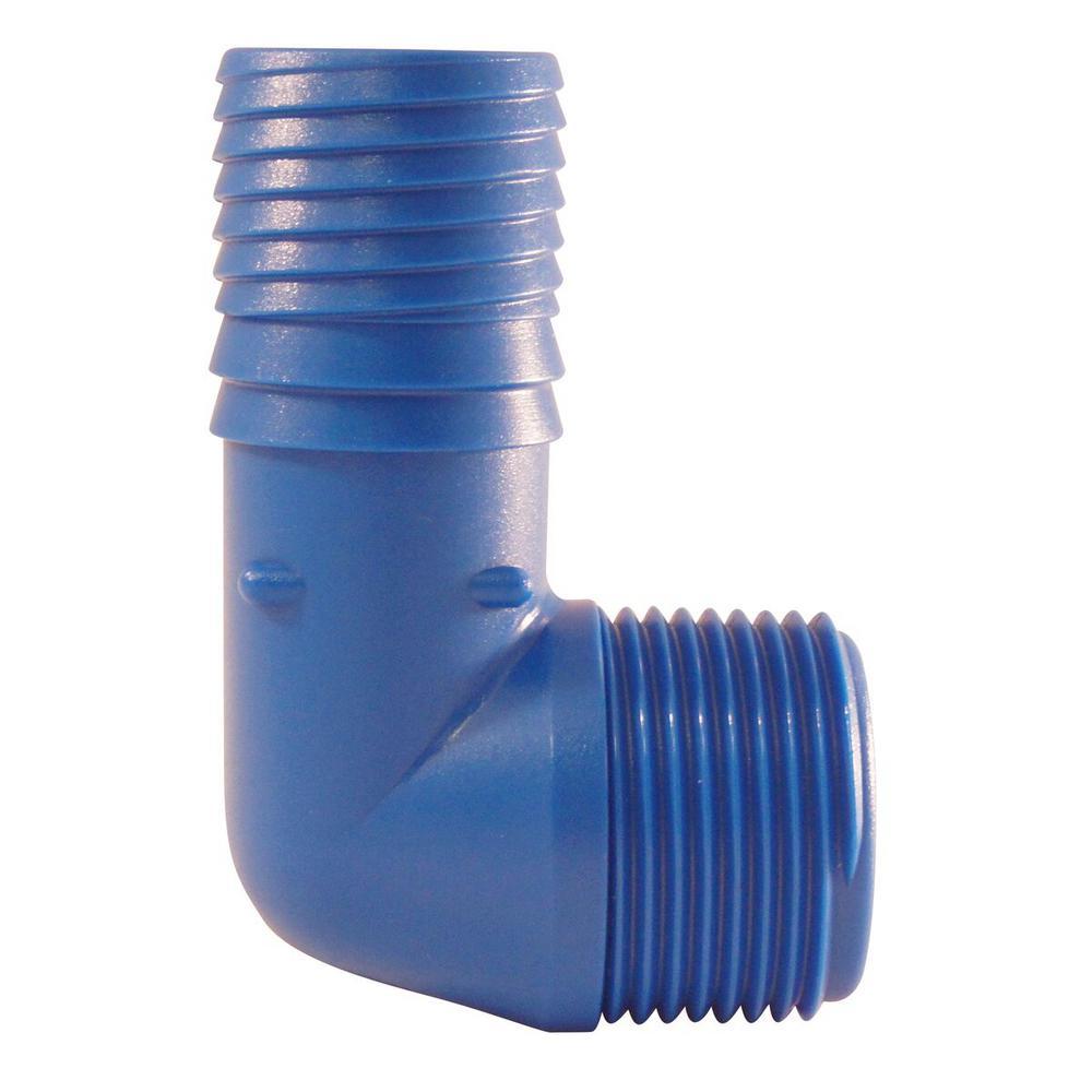 1 in. Blue Twister Polypropylene Insert 90-Degree x MPT Elbow