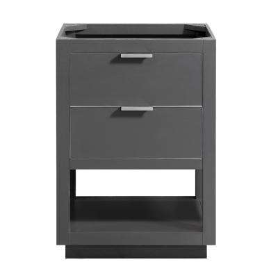 Allie 24 in. W x 21.5 in. D x 34 in. H Bath Vanity Cabinet Only in Twilight Gray with Silver Trim