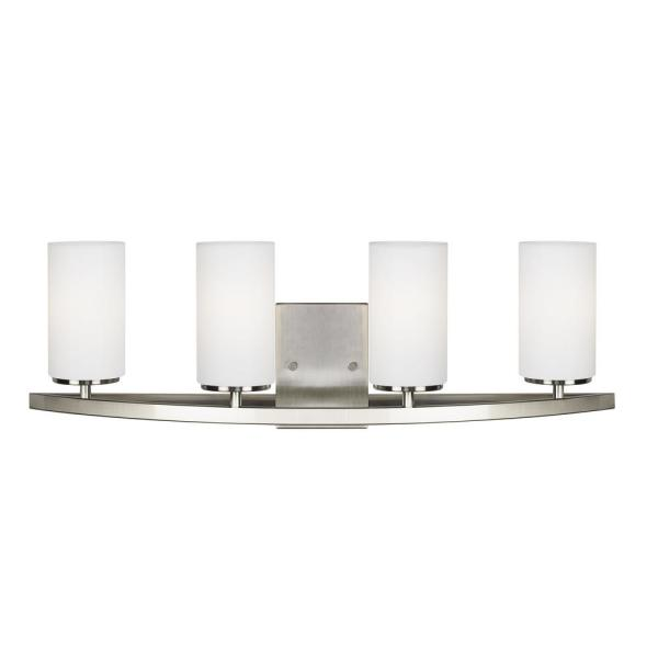 Visalia 28.25 in. W 4-Light Brushed Nickel Bathroom Vanity Light with White Etched Glass Shades