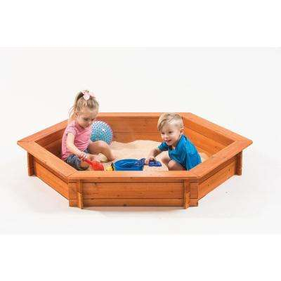 Hexagon 5 ft. x 4 ft. Sandbox with Cover and Lining