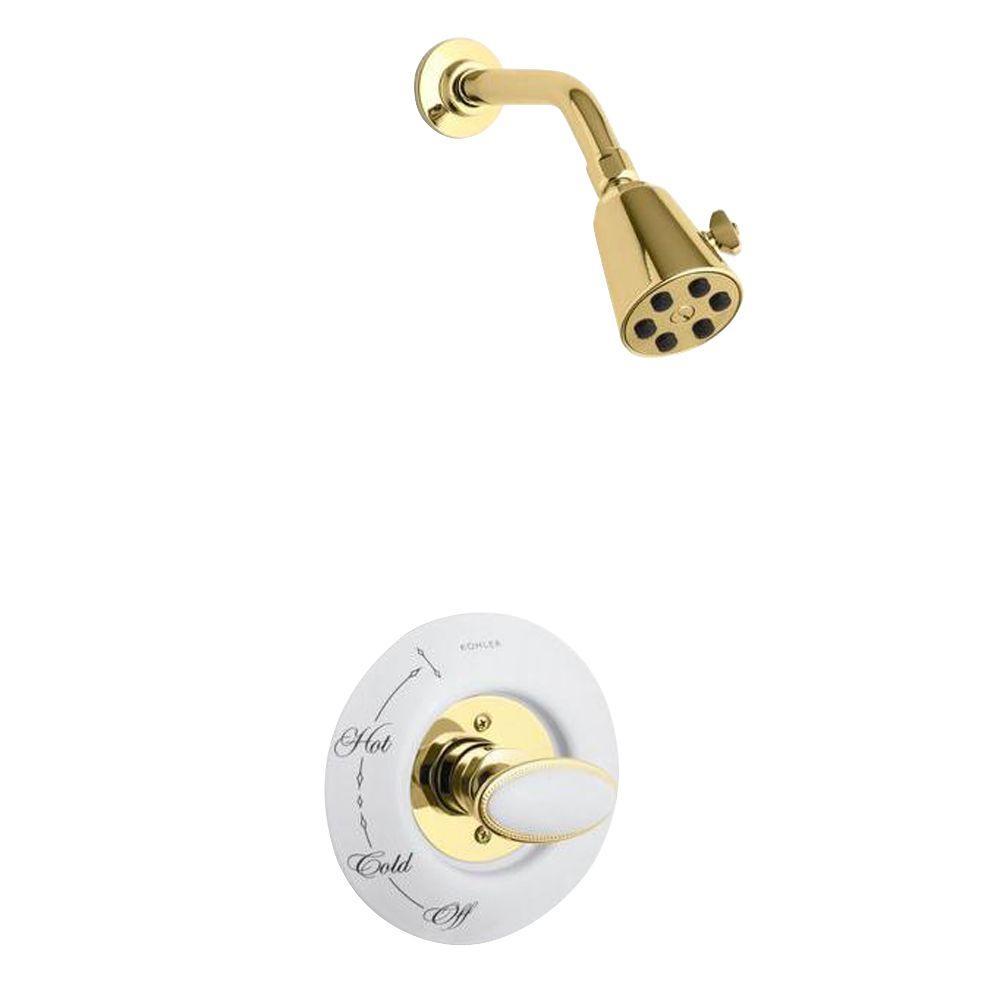 KOHLER Antique 1-Handle Shower Faucet Trim in Vibrant Polished Brass ...