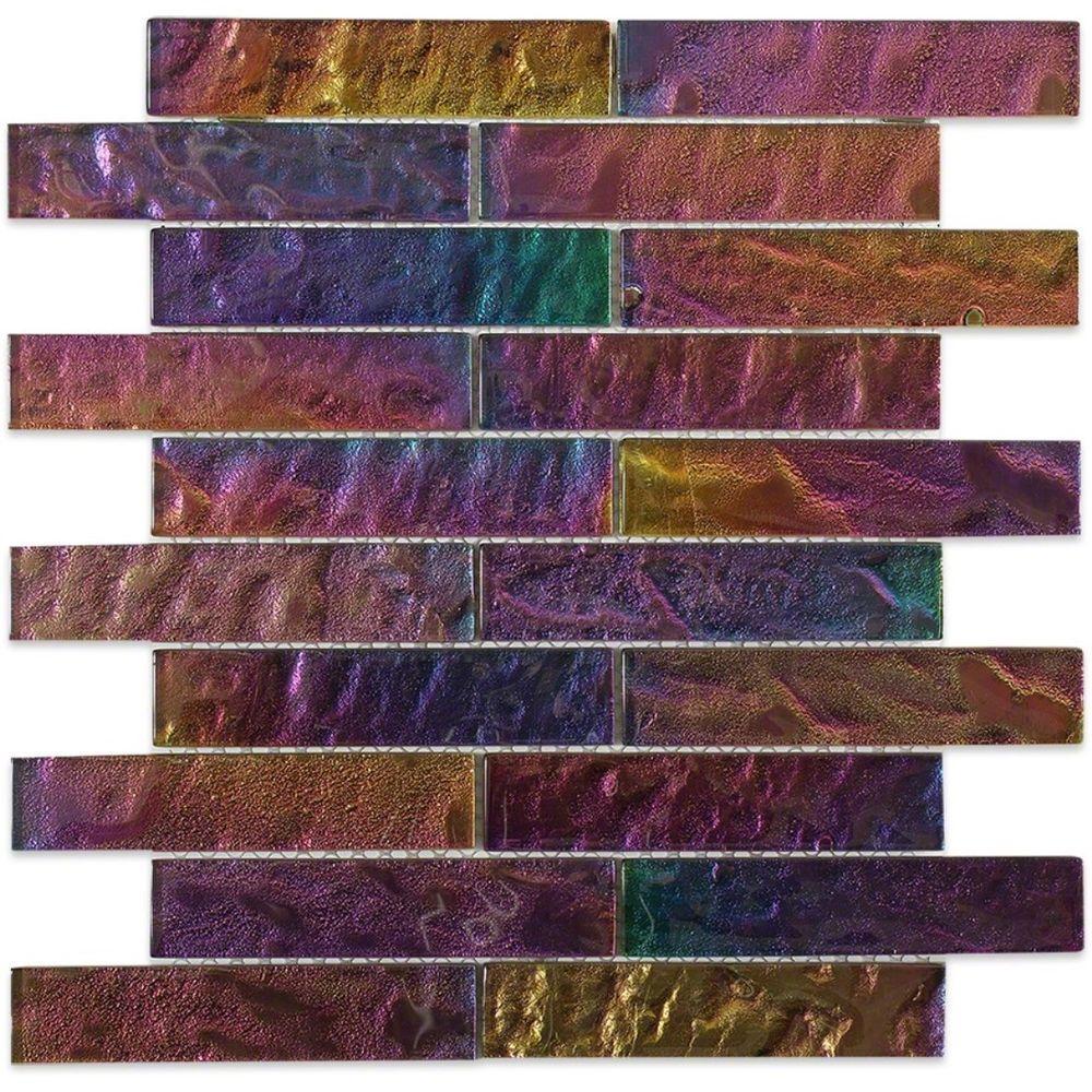 Splashback Tile Iridescent Gold Bricks Glass Floor and Wall Tile ...