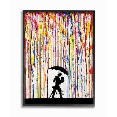 """16 in. x 20 in. """"Melting Colors Rainbow Rain Drops Umbrella Dancing Silhouette"""" by Marc Allante Framed Wall Art"""