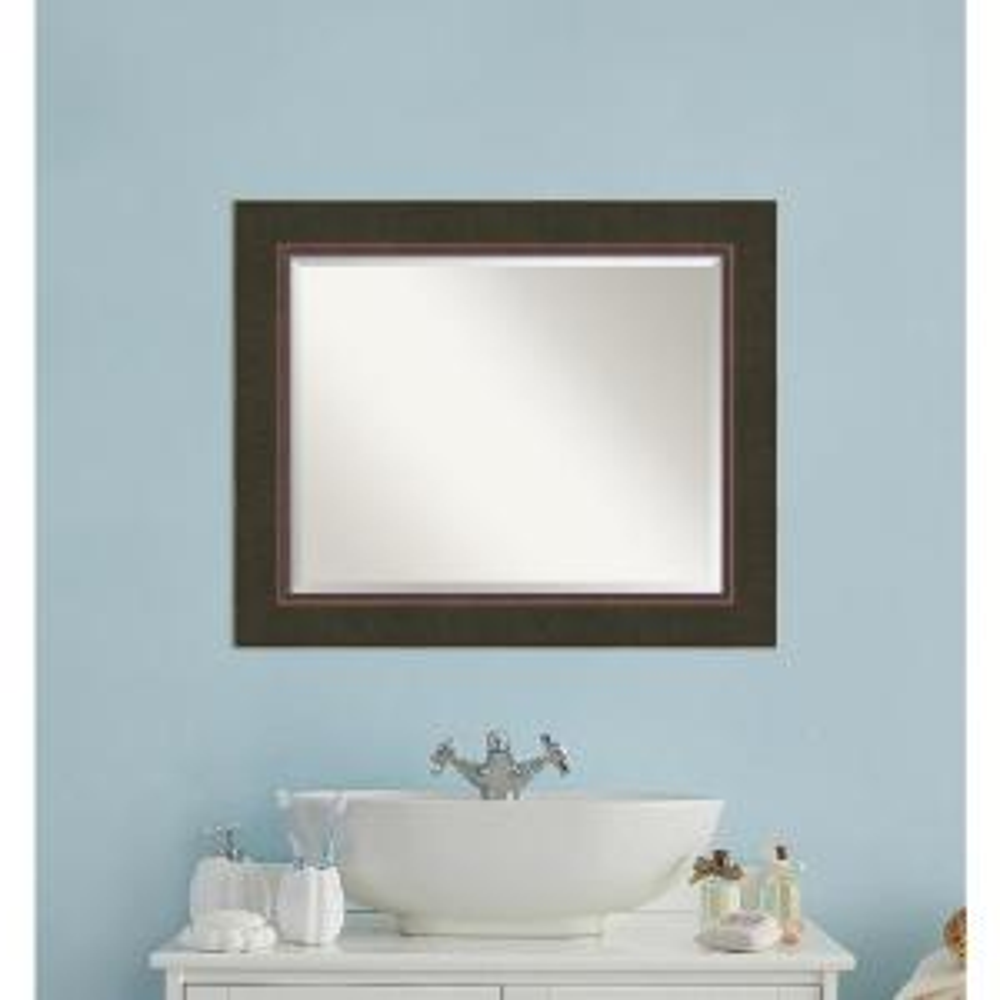 Milano Bronze Wood 35 in. W x 29 in. H Contemporary Bathroom Vanity Mirror