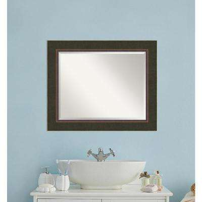 Milano Bronze Wood 35 in. W x 29 in. H Contemporary Bathroom Vanity Mirror